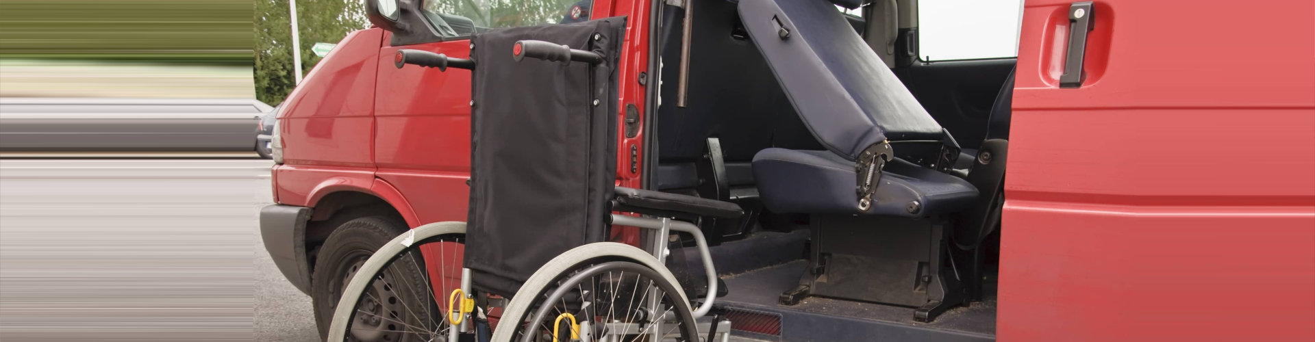 red van and a wheelchair