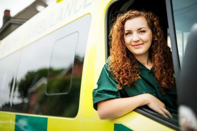nurse inside an ambulance